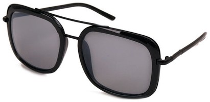 Angle of SW Retro Aviator Style #8590 in Black Frame with Smoke Grey Lenses, Women's and Men's