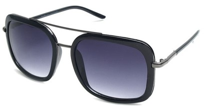 Angle of SW Retro Aviator Style #8590 in Black Frame with Smoke Rose Lenses, Women's and Men's