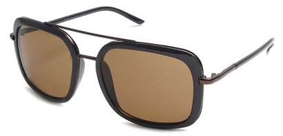 Angle of SW Retro Aviator Style #8590 in Brown Frame with Amber Lenses, Women's and Men's