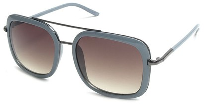 Angle of SW Retro Aviator Style #8590 in Grey Frame with Brown/Grey Lenses, Women's and Men's