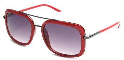 Angle of SW Retro Aviator Style #8590 in Red Frame with Smoke Lenses, Women's and Men's