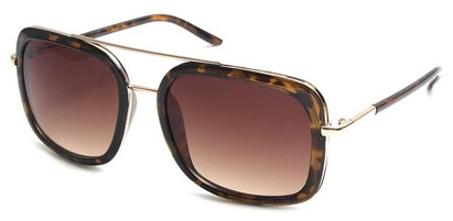 Angle of SW Retro Aviator Style #8590 in Tortoise Frame with Amber Lenses, Women's and Men's