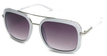 Angle of SW Retro Aviator Style #8590 in White Frame with Smoke Lenses, Women's and Men's