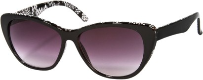 Angle of SW Oversized Cat Eye Style #9084 in Black/Grey Snake Print Frame, Women's and Men's