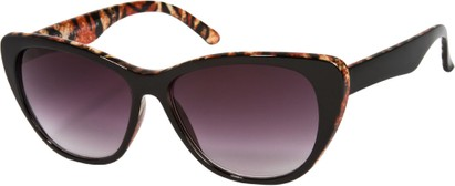 Angle of SW Oversized Cat Eye Style #9084 in Black/Brown Tiger Print Frame, Women's and Men's