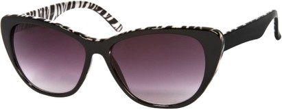 Angle of SW Oversized Cat Eye Style #9084 in Black/White Zebra Print Frame, Women's and Men's