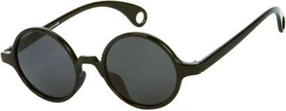 Angle of Gully #849 in Glossy Black Frame, Women's and Men's Round Sunglasses