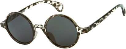 Angle of Gully #849 in Grey Tortoise Frame, Women's and Men's Round Sunglasses