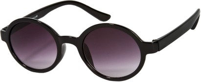 Angle of SW Round Retro Style #9560 in Glossy Black Frame, Women's and Men's
