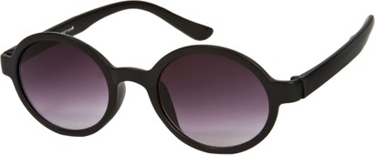 Angle of SW Round Retro Style #9560 in Matte Black Frame, Women's and Men's