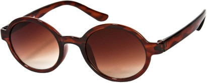 Angle of SW Round Retro Style #9560 in Glossy Tortoise Frame, Women's and Men's
