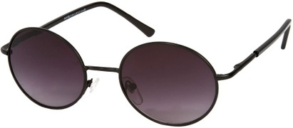 Angle of SW Round Style #844 in Matte Black Frame with Smoke Lenses, Women's and Men's
