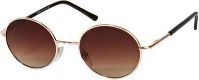 Angle of SW Round Style #844 in Gold Frame with Amber Lenses, Women's and Men's