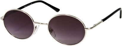 Angle of SW Round Style #844 in Silver/Black Frame with Smoke Lenses, Women's and Men's