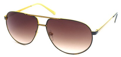 Angle of SW Vintage Aviator Style #303 in Black and Yellow Frame, Women's and Men's