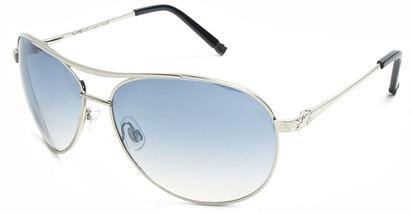 Angle of Thunderbird #1904 in Silver Frame with Blue Lenses, Women's and Men's Aviator Sunglasses