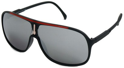 Angle of SW Celebrity Aviator Style #9920 in Black and Red Frame with Mirrored Lenses, Women's and Men's