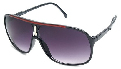 Angle of SW Celebrity Aviator Style #9920 in Black and Red Frame with Smoke Lenses, Women's and Men's