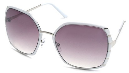 Angle of SW Oversized Style #1944 in White and Silver Frame, Women's and Men's