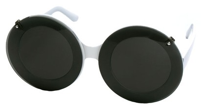 Angle of SW Celebrity Style #513 in White Frame with Smoke Lenses, Women's and Men's