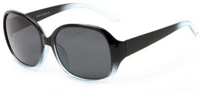Angle of Newton #7787 in Black with Blue Fade Frame with Grey Lenses, Women's Round Sunglasses