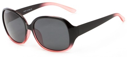Angle of Newton #7787 in Black with Pink Fade Frame with Grey Lenses, Women's Round Sunglasses