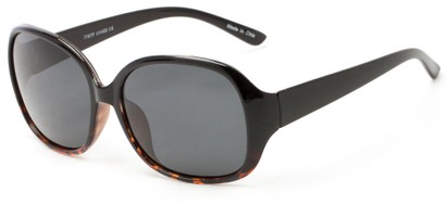 Angle of Newton #7787 in Black with Tortoise Fade Frame with Grey Lenses, Women's Round Sunglasses