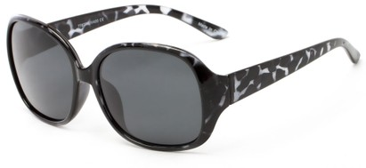 Angle of Newton #7787 in Black Tortoise Frame with Grey Lenses, Women's Round Sunglasses