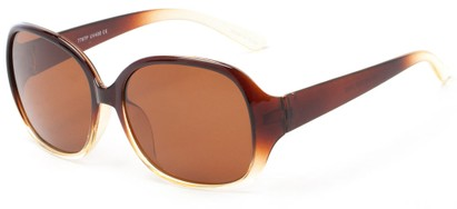 Angle of Newton #7787 in Brown with Clear Fade Frame with Amber Lenses, Women's Round Sunglasses