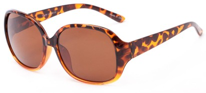 Angle of Newton #7787 in Tortoise Frame with Amber Lenses, Women's Round Sunglasses