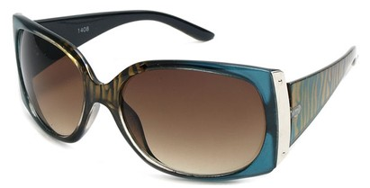 Angle of SW Animal Print Style #29 in Turquoise Blue and Brown Zebra Two-Tone Frame, Women's and Men's