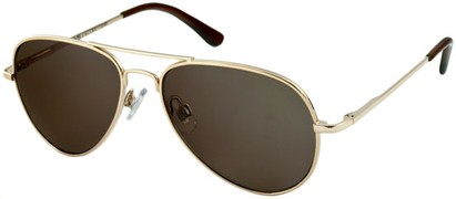 Angle of SW Retro Aviator Style #1631 in Gold Frame with Dark Grey Lenses, Women's and Men's