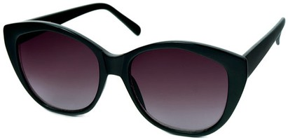 Angle of SW Cat Eye Style #2149 in Black Frame with Smoke Lenses, Women's and Men's
