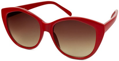 Angle of SW Cat Eye Style #2149 in Red Frame with Amber Lenses, Women's and Men's