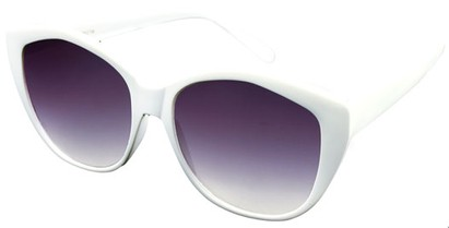 Angle of SW Cat Eye Style #2149 in White Frame with Smoke Lenses, Women's and Men's