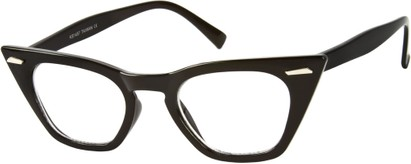 Angle of SW Clear Cat Eye Style #8881 in Solid Black Frame, Women's and Men's