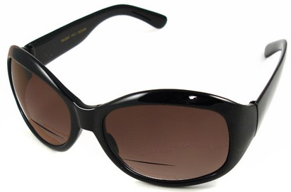 Angle of SW Bifocal Style #7963 in Black Frame with Amber Lenses, Women's and Men's