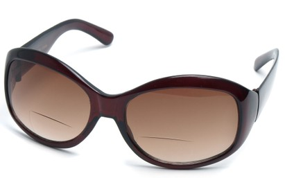 Angle of SW Bifocal Style #7963 in Dark Red Frame with Amber, Women's and Men's