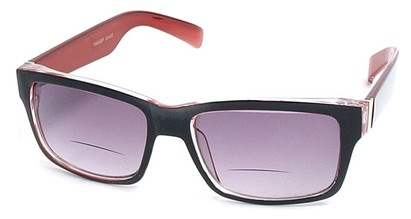 Angle of Orbison in Black and Red, Women's and Men's Retro Square Reading Sunglasses