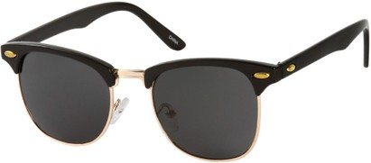 Angle of Whistler #324 in Black/Gold Frame with Grey Lenses, Women's and Men's Browline Sunglasses