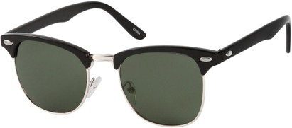 Angle of Whistler #324 in Black/Silver Frame with Green Lenses, Women's and Men's Browline Sunglasses