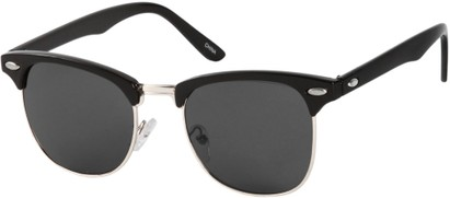 Angle of Whistler #324 in Black/Silver Frame with Smoke Lenses, Women's and Men's Browline Sunglasses