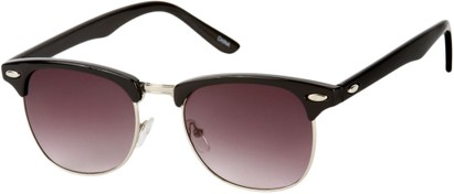 Angle of Whistler #324 in Black/Silver Frame with Rose Lenses, Women's and Men's Browline Sunglasses