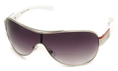 Angle of SW Shield Bifocal Style #7982 in Silver and White, Women's and Men's