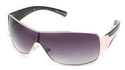 Angle of SW Shield Bifocal Style #7982 in Gold and Tortoise, Women's and Men's