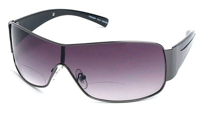 Angle of SW Shield Bifocal Style #7982 in Grey and Black, Women's and Men's