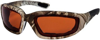 Angle of Abyss #54585 in Tan Camo with Amber Lenses, Women's and Men's Sport & Wrap-Around Sunglasses