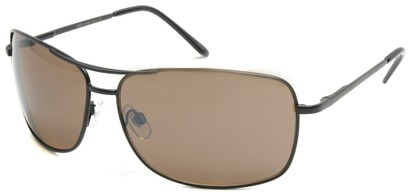 Angle of SW Square Aviator Style #808 in Black Frame with Amber Lenses, Women's and Men's