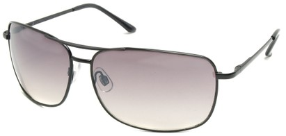 Angle of SW Square Aviator Style #808 in Black Frame with Smoke Lenses, Women's and Men's