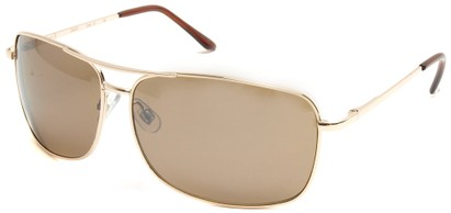 Angle of SW Square Aviator Style #808 in Gold Frame with Gold Lenses, Women's and Men's